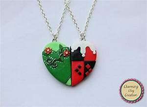 Harley Quinn Halsband : poison ivy and harley quinn friendship necklaces keyrings or magnets this set is available ~ Frokenaadalensverden.com Haus und Dekorationen