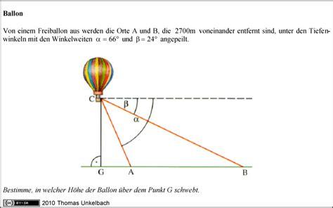 trigonometrie bestimme  welcher hoehe der ballon