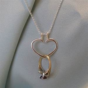 Heart engagement ring holder necklace charm pendant for Wedding ring necklace