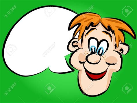 Funny Hand Drawn Face Red Head Cartoon Man Or Guy With