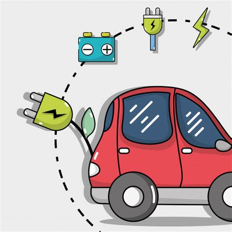 Electric Car Technology by Electric Car Technology With Recharge Battery Vector