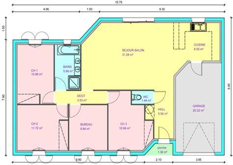 plan maison plain pied 4 chambres garage résultat de recherche d 39 images pour quot plan de maison plain