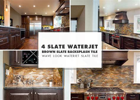mosaic tile backsplash kitchen ideas waterjet brown gray slate backsplash ideas 9295