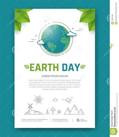 Planet Brochure Template by Earth Day Brochure Stock Vector Image 70367488