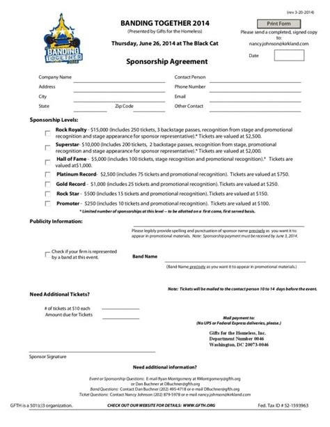 sponsorship agreement templates word excel  templates