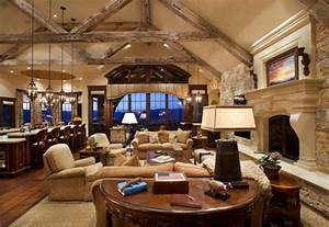 Cathedral Ceilings With Exposed Wooden Beams And High