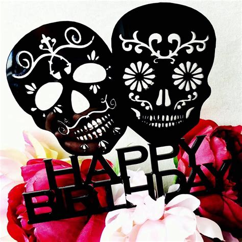 Black White And Pink Decorating Ideas by Sugar Skull Cake Topper Happy Birthday Sugarskull Cake