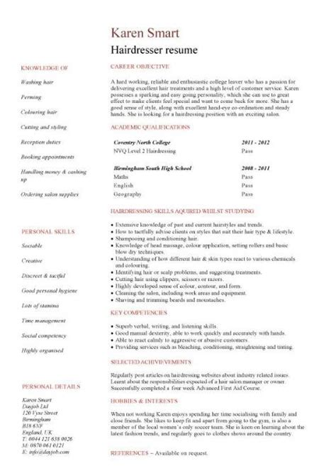 Fashion Stylist Resume Objective by Student Entry Level Hairdresser Resume Template