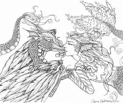 Coloring Fantasy Pages Adult Creatures Mythical Colouring