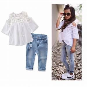 Summer 2017 Kids Fashion Girls Clothing Sets White Top T shirt +Jeans 2pcs Set for Teenage Girls ...