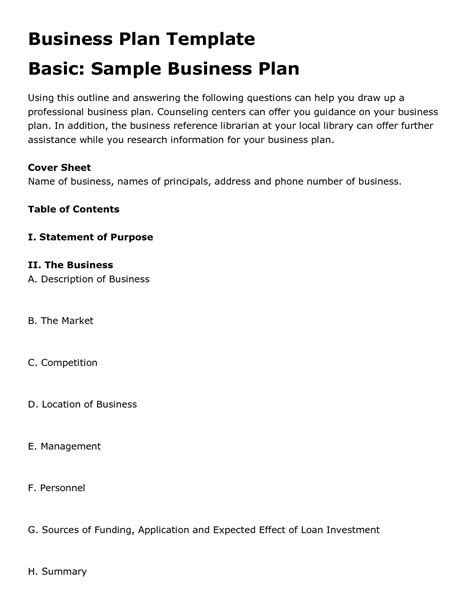 Basic Business Plan Template by Simple Business Plan Design Entrepreneur Business Plan