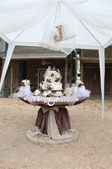 wedding cake table   simple large decorated spool