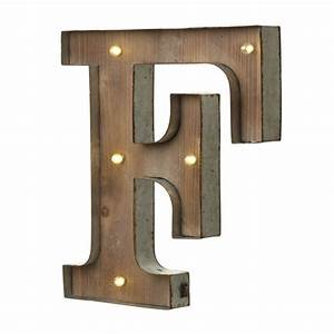 led light up wood metal carnival letter f With metal letter f