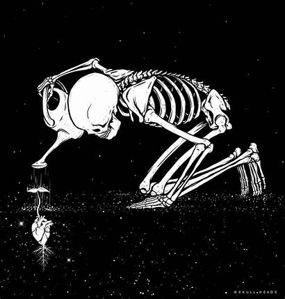 Skeleton Skull Drawings Drawing Heart Caretaker Trippy