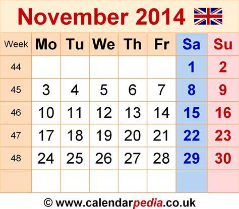 calendar november  uk bank holidays excelpdfword