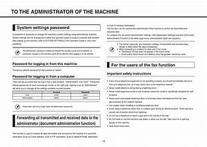 System Settings Password  For The Users Of The Fax