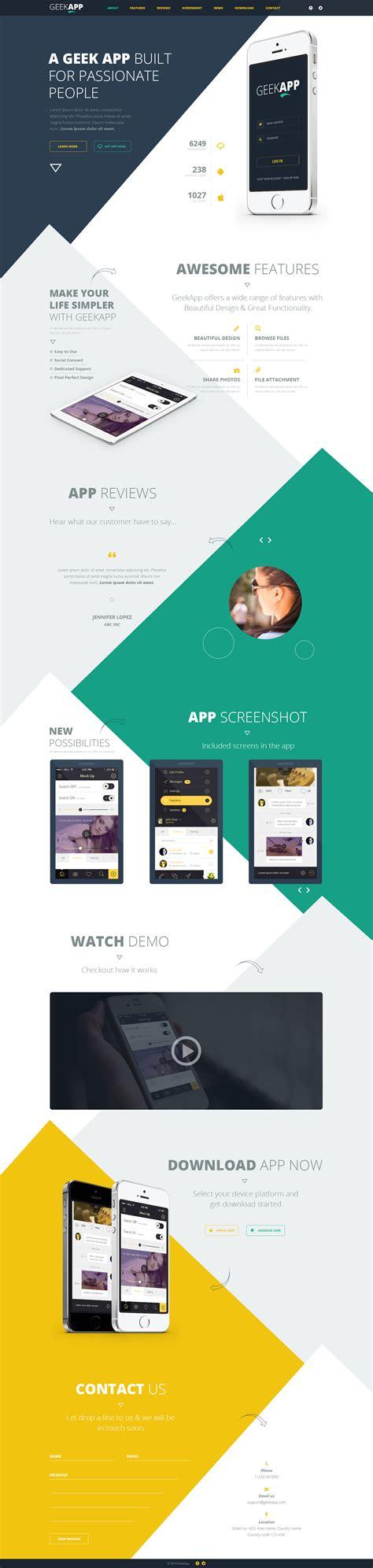 geekapp one page app landing psd template web design free stuff web design inspiration