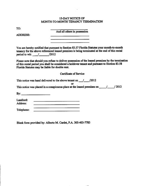 eviction notice florida template 30 day notice to vacate letter florida landlord to tenant 30 day notice of expiration lease