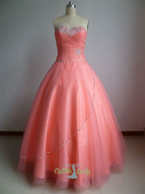 coral crystal tulle long quinceanera dress prom dress