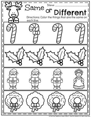 theme for preschool planning playtime 998 | Christmas Worksheets for Preschool Same or Different