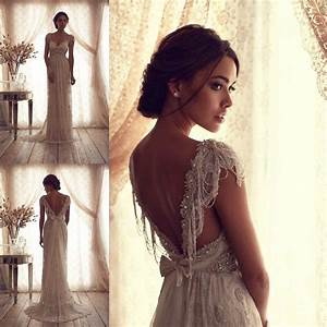 Anna campbell wedding dresses ivory lace sexy v backless for Anna campbell wedding dress usa