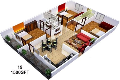 1 bedroom house floor plans 1500 sq ft 3 bhk 3t apartment for sale in sai sumukha
