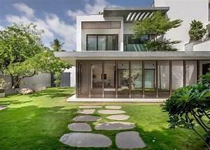 Villa Tropicale Maison Design B U00e9ton Verre Bois