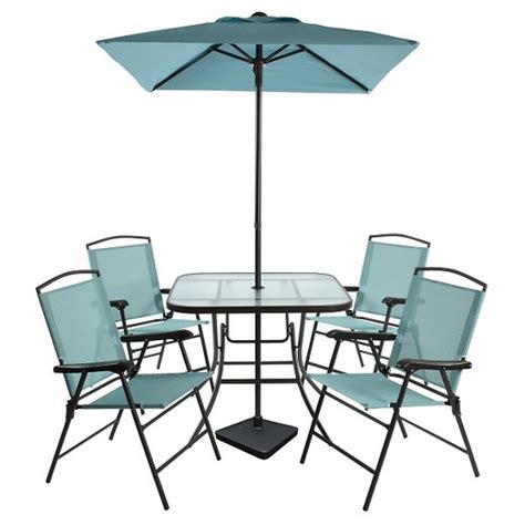 7pc sling folding patio dining set turquoise room