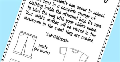 change of clothing parent letter for and spills change of clothing parent letter freebie krazee 4 86744