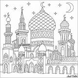 Coloring Pages Mosque Crescent Sheets Islamic Ramadan Drawing Adults Justcolor Oriental Activities sketch template