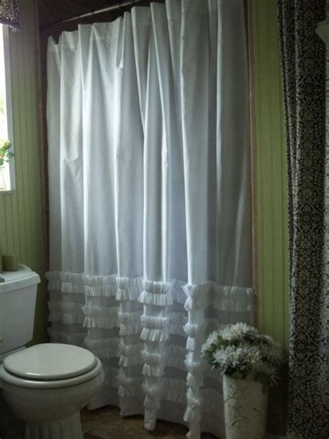 white cotton ruffles shower curtain shabby chic cottage