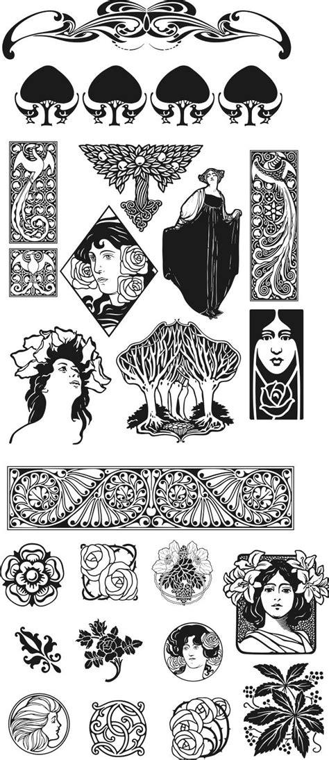 Jugendstil Kleurplaat by Tekening Vrouwen Nouveau Stijl Patroon Kleurplaat