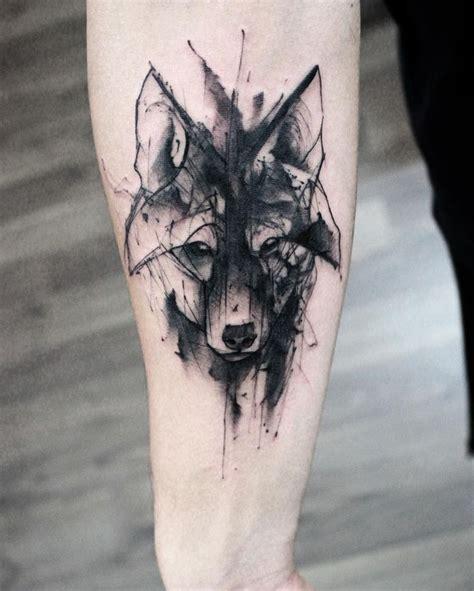 watercolor wolf head tattoo  forearm