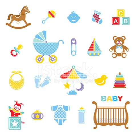baby crib size baby boy icon set stock vector freeimages com