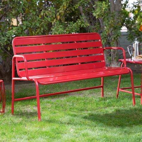 Belham Living Adley Outdoor Metal Slat Garden Bench