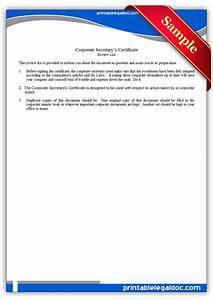 Free printable corporate secretary39s certificate form for Corporate secretary certificate template