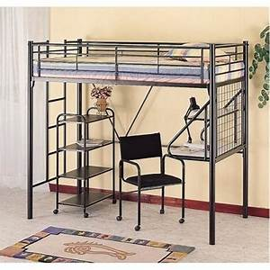 Full Loft Bed With Desk Underneath Twin Bunk Bed Black ...