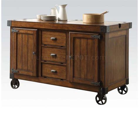 kitchen island on wheels kabili kitchen cart island in tobacco finish lockable