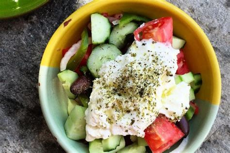 If you have a lot of macaroni salad, you would divide it into smaller containers. Greek Salad Sifnos Style | Greek salad recipes, Greek recipes, Greek salad