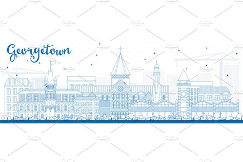 georgetown business card template outline georgetown skyline illustrations creative market