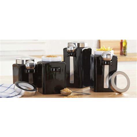 black ceramic kitchen canisters 4 canister set black walmart com