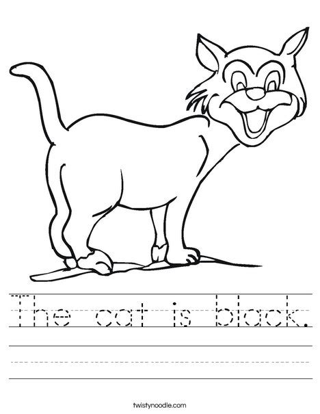 black worksheet the cat is black worksheet twisty noodle