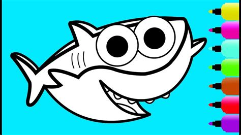glitter baby shark coloring page drawing  coloring