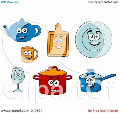 Dishes Clipart Kitchen Happy Royalty Characters Illustration