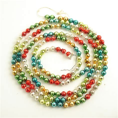 vintage glass bead christmas garland mult color by efinegifts