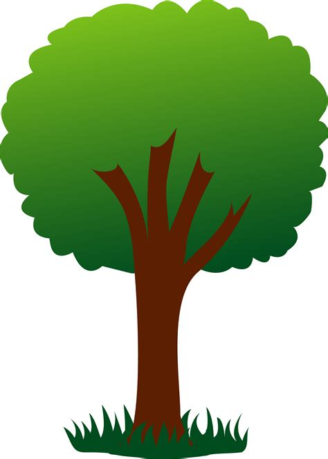 tree clipart simple green tree in grass free clip