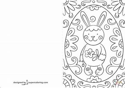 Easter Coloring Card Pages Bunny Printable Doodle