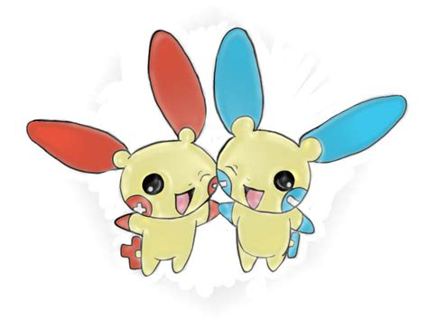 Chibi Plusle And Minun By Nightsangel666 On Deviantart