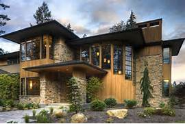 Stone House Design Ideas And Glass Stair Hall Give This Contemporary Home Strong Curb Appeal