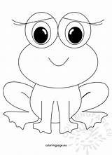 Frog Coloring Cute Animal Frogs Smiling sketch template